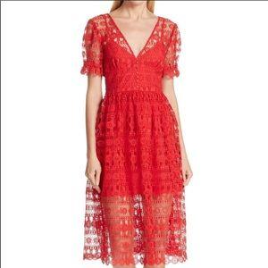 NWT Self Portrait Red Midi Dress